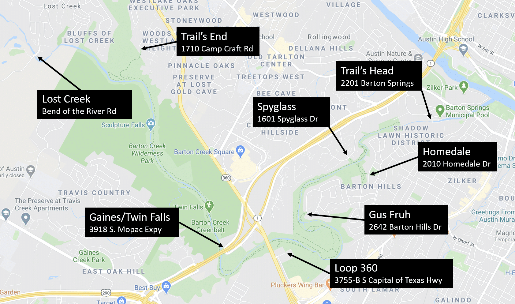 Map of Greenbelt Access Points