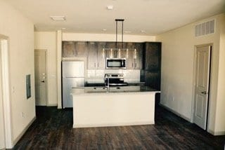 apartment with kitchen island